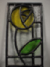 Leaded stained glass flower made by a beginner