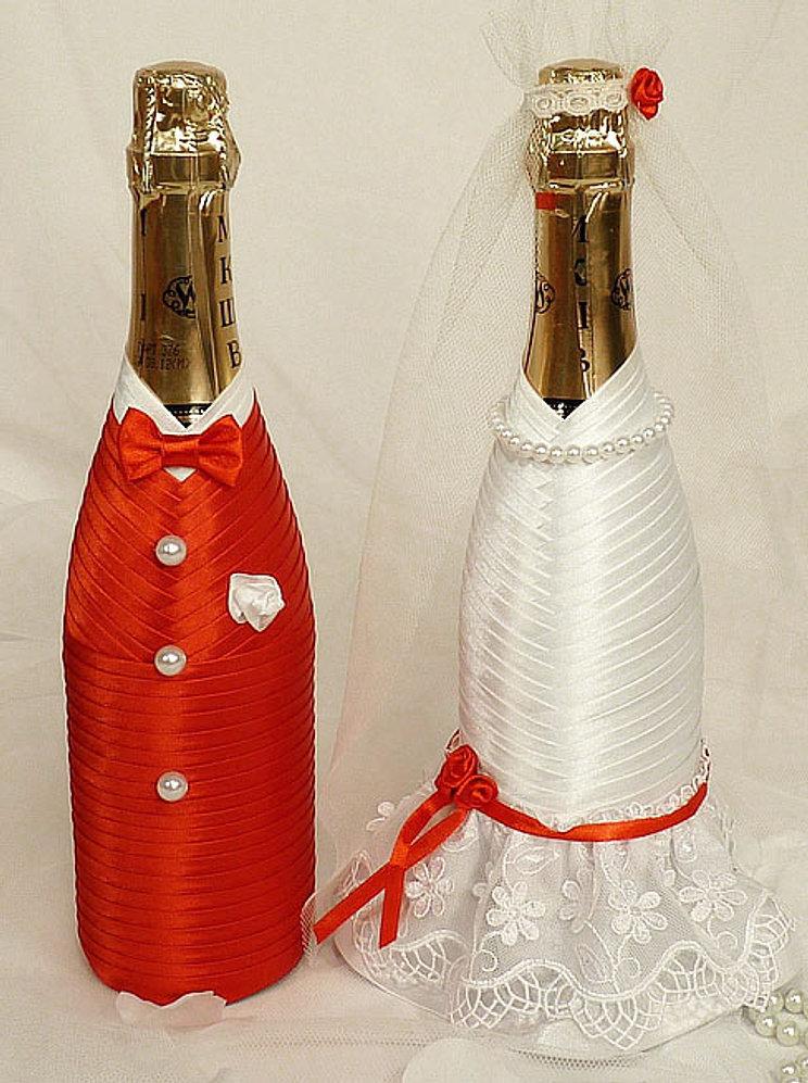 Бутылки на свадьбу своими руками фото