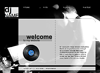 Dj Design Template - This slick Modern Flash template is perfect for the Music business. Simply add your logo, plug in your own text and images and customize colors and you are ready to show it off to clients