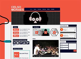 Clube DJ Template - Um template antenado pronto para levar seu som para a web. Um layout estilo funky tem espaço suficiente para compartilhar notícias, fotos, trilhas e vídeos. Crie um website personalizado tão original quanto seu som!