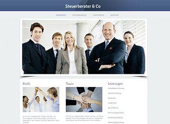 Steuerberater Template - Diese elegante und moderne Homepage-Vorlage strahlt Professionalität aus. Einfach Texte hinzufügen, um die Stärken Ihrer Firma und Ihre Erfahrung auf dem Markt zu verdeutlichen. Jetzt bearbeiten und die eigene Online-Präsenz erstellen!