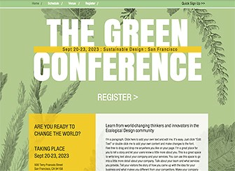 Conférence Environnement Template - Get your conference, event, or festival off the ground and into the cloud with this environmentally-friendly template. Add text and photos to excite your attendees and inform your audience. Customize your site with conference schedule, registration details, and contact information.