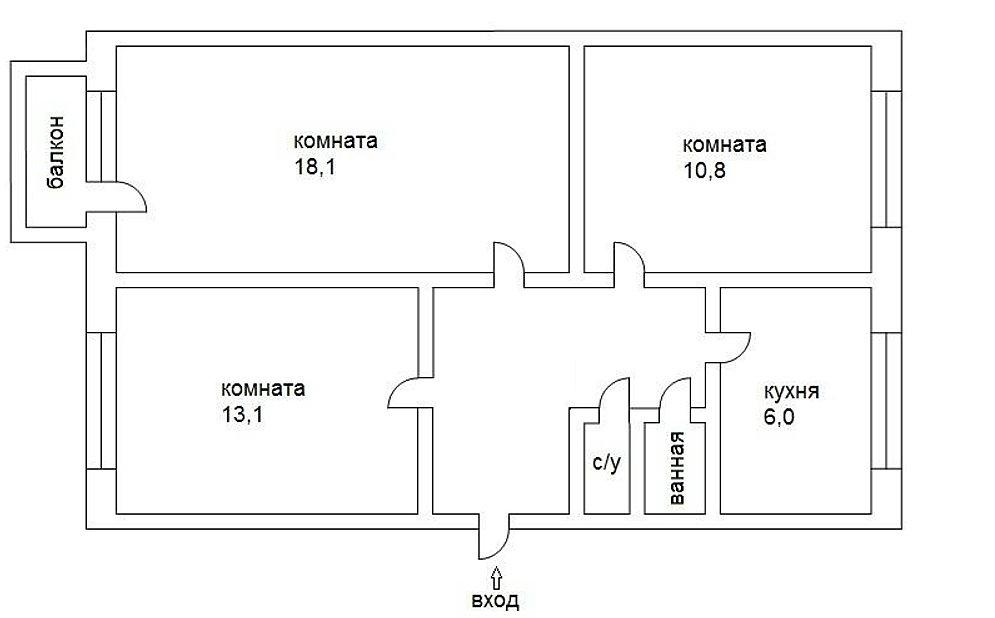 Дизайн квартиры трёхкомнатной хрущевки