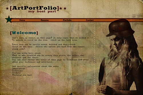 Designer Portfolio Template - This styled template will help you create & increase your online presence with ease. Just add your unique texts & images and you are ready to show off your resume and portfolio with our simple publishing wizard.