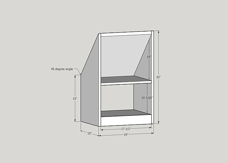 Drawing of Gable Bookcase
