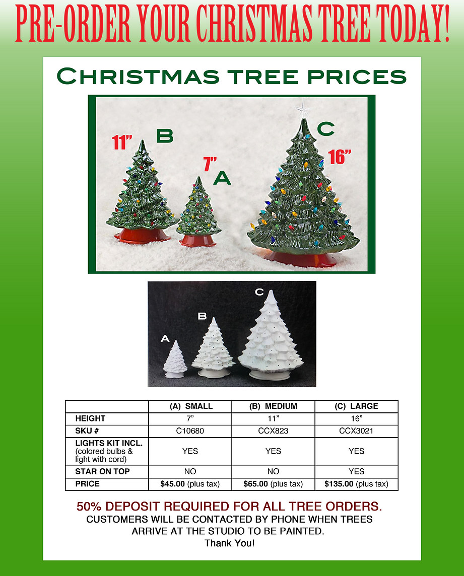 cost for ladies night is 10 plus the cost of your pottery - Christmas Tree Prices
