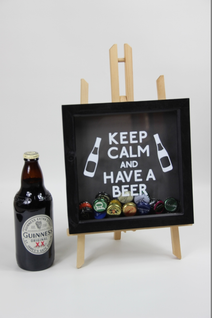 Beer bottle caps memory box frame glitter glasses uk for Beer bottle picture frame