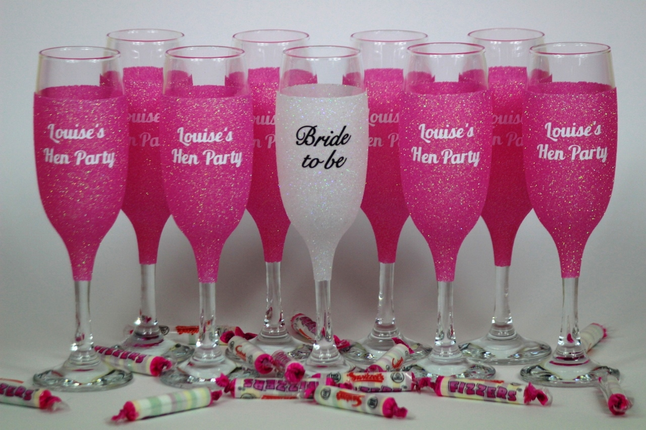 Glitter Hen Party Champagne Flutes Personalised Glitter
