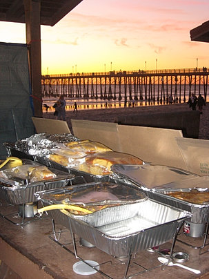 Homeless Outreach dinner at sunset