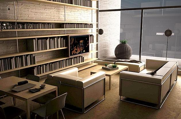 הדמיות ממוחשבות לסלון בבית פרטי