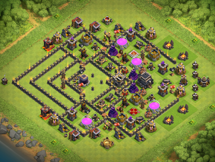 TH 9 (Town Hall 9) NEW Best Dark Elixir Base 2017 (Tested + Replays) - Clash Of Clans