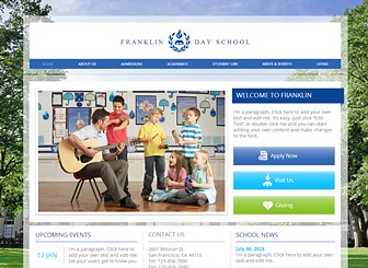 Country Day School Template - Build an online presence for your school or university with this warm yet professional template. The structured layout and built-in links for brochures give you plenty of space to discuss your programs, admissions policy, and student life.