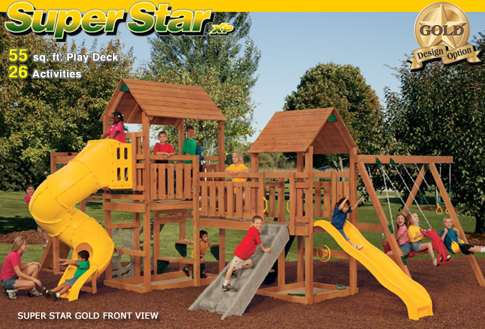 Super star xp gold pre assembled playset wooden for Sutherlands deck kits