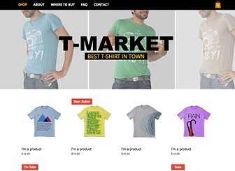 T-shirt Market Template - Cool and casual, this modern theme awaits your clothing design or retail company. With a product gallery featuring prominently on the homepage, this is the perfect template for anyone wishing to start selling their products immediately! Just upload images of your products and customize the product details to begin selling. Design a stylish online store and take your fashion brand online!