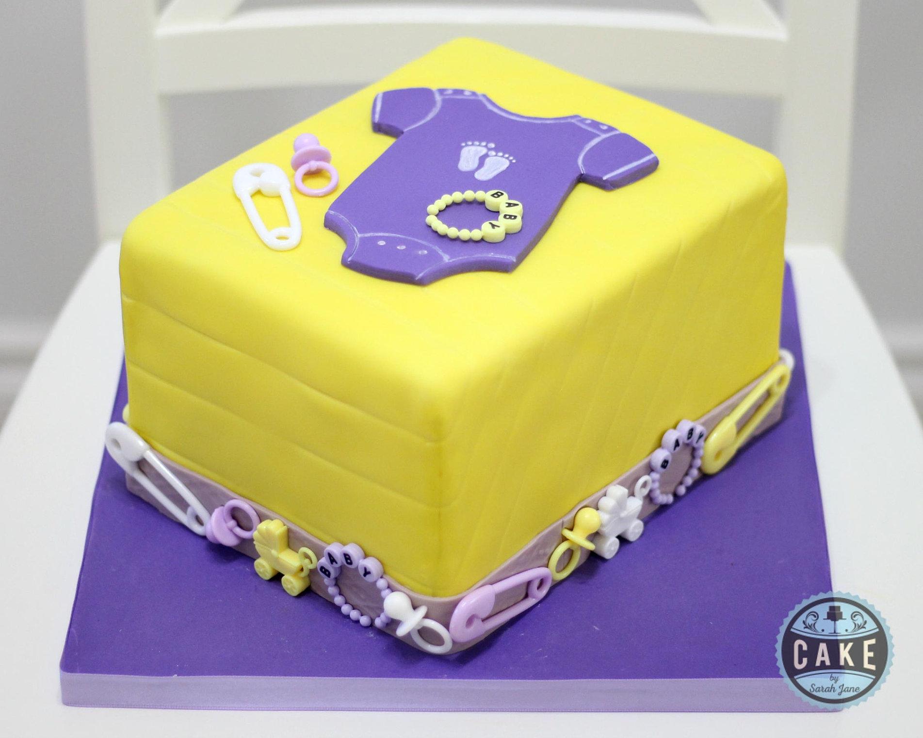 Baby Shower Cakes Calgary Part - 18: Yellow Purple Baby Shower Onesie Cake