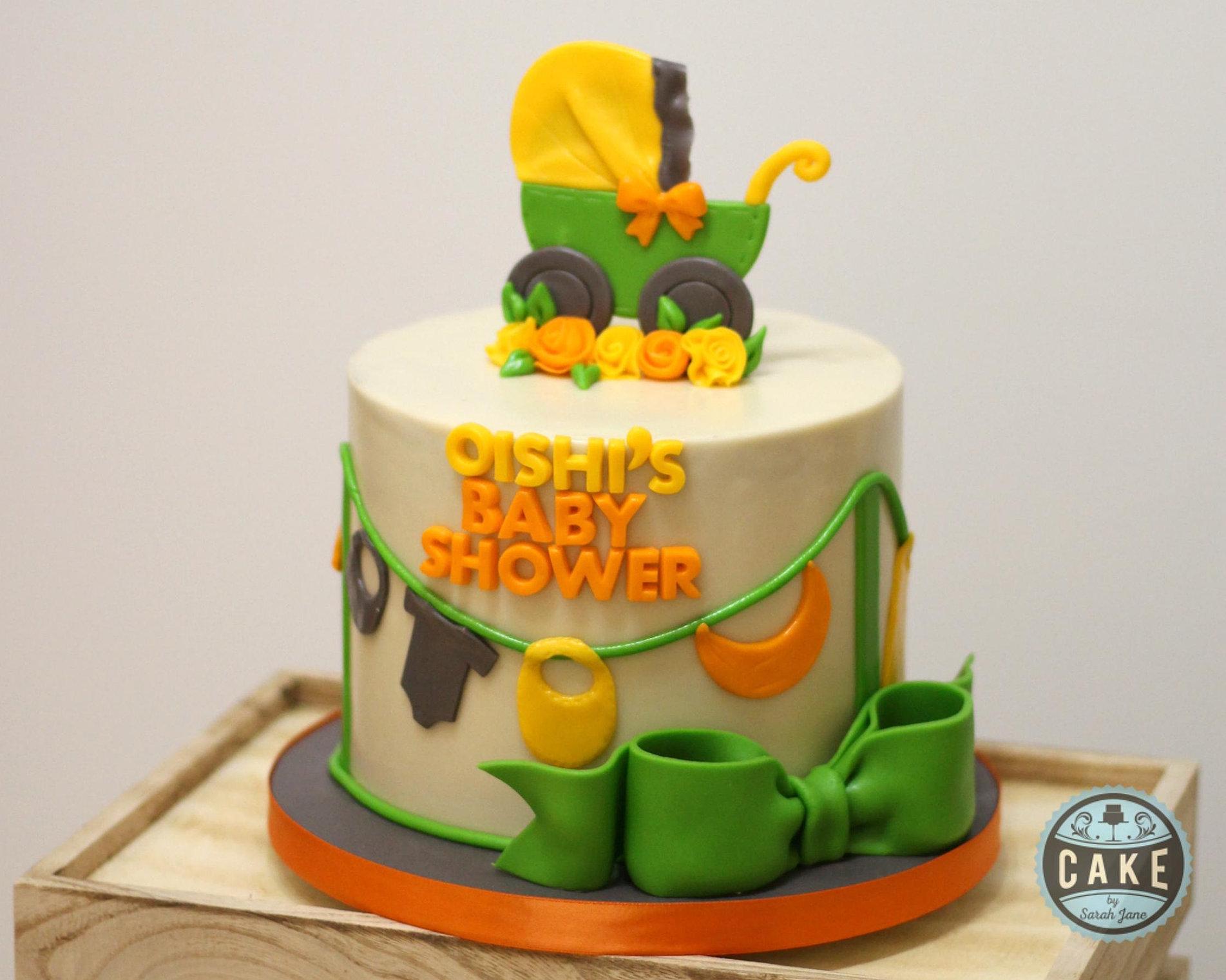 Baby Shower Cakes Calgary Part - 21: Orange Green Baby Shower Cake Custom