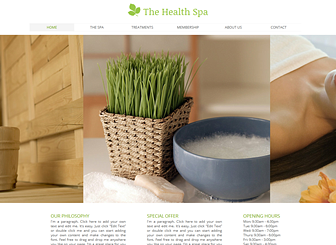 Health Spa Template - Create an online presence for your health spa or resort with this tranquil and refreshing template. Add text to promote your treatments and rates and customize the photo gallery to convey the soothing atmosphere of your business.