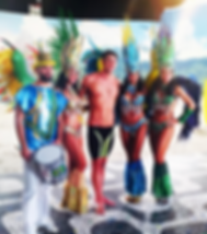 Stunning samba dancers Brenda, Gizella, Suellen and Lindsey for Wii video game promo with over 30 samba dancers