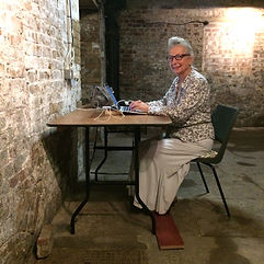 Yasmin Chopin writing in the crypt 2018