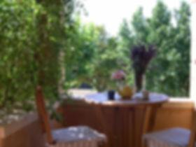 En haut d'un bel escalier, un auvent permet de prendre les repas ennivré par le parfum des chèvrefeuilles et des rosiers.    La maison dispose d'une vaste cuisine-salle à manger et de deux chambres avec vue sur les collines du Colorado provençal.    La maison est équipée d'un système de chauffage par le sol l'hiver et de refroidissement par le sol l'été.