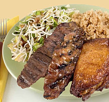 Happi House Beef Pork and Chicken Teriyaki Plate
