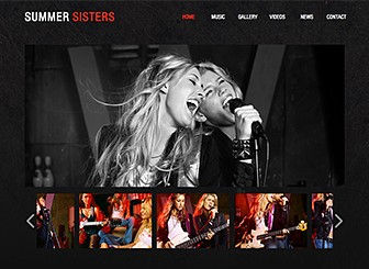 Music Artists Template - Turn up the volume with this bold and edgy website template. This is the perfect place to share songs, videos, and news items with your fans. Upload photos and customize the design and color scheme to match your band's style.