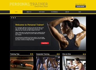 Fitness Training  Template - Call attention to your gym or fitness center with the vivid color scheme and sharp design of this free template. This is the ideal place to advertise your facilities, rates, and training packages. Craft a customized website and build your online presence. Use the Blog page to keep your followers up to date on your latest activities.