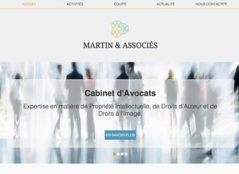Cabinet Avocats Propriété Intellectuelle Template - Sleek and sophisticated, this template is perfect for cutting edge firms looking for a website to match. Detail your practice's specialties, staff, and press accolades. Keep clients up-to-date with photos and news through your blog.