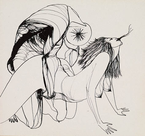 "In his one-and-only exhibition, in L.A., in 1957, he was arrested for showcasing a ""lewd"" peyote-induced drawing of a copulating couple by a friend, Marjorie Cameron Parsons Kimmel, a.k.a. Cameron (1922-1995), an artist, performer and black magic practitioner influenced by Aleister Crowley. The infamous drawing appeared in the first issue of Semina."