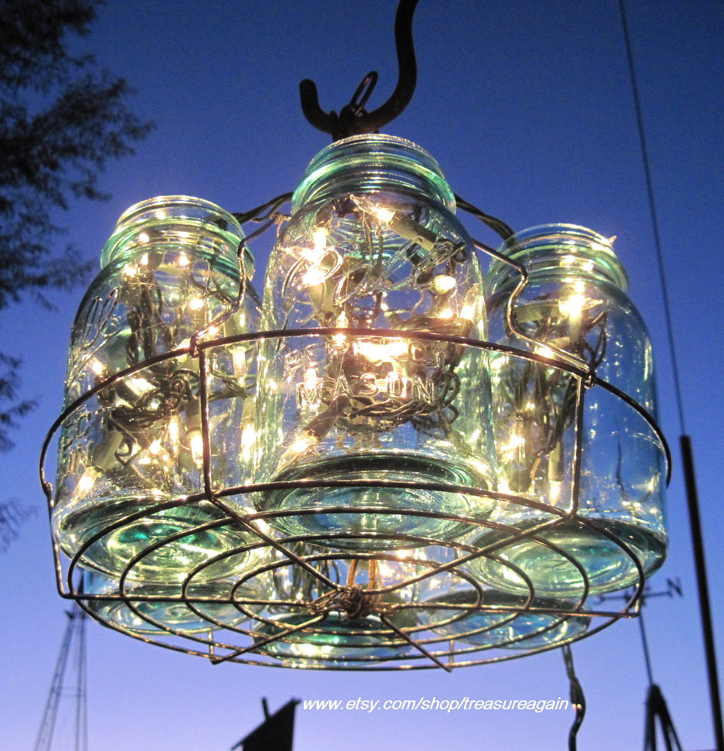 Treasureagain mason jars ball jars mason jar solar light jar mason jar chandelier arubaitofo Gallery