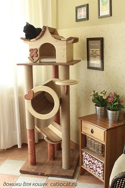 Многоуровневый домик для кошек своими руками 25