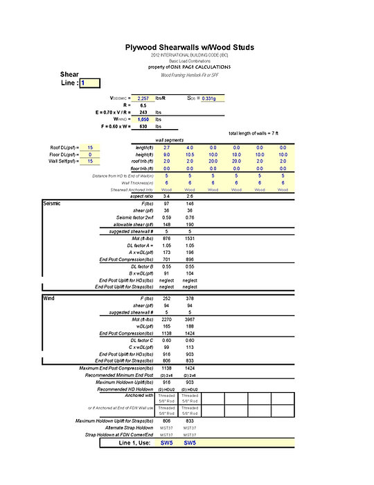 perforated shear wall design spreadsheet