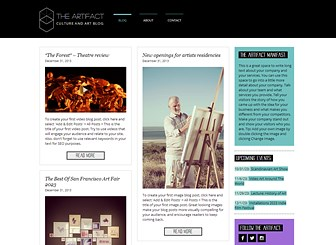 Art & Culture Blog Template - The boxed layout and minimal design give this template a sleek and modern vibe. Simply upload images, text, and videos to create your own blog posts. Start editing to leave your mark on the arts and culture scene.