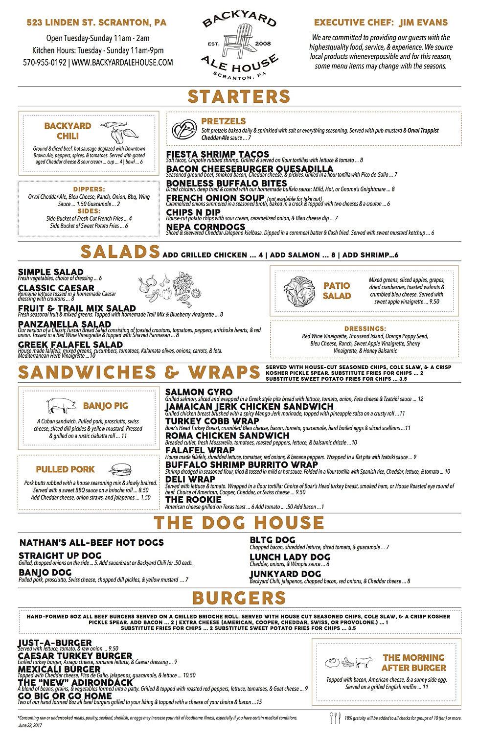 craft food menu