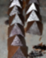 glitter chocolate, silver chocolate, sparkle chocolate, pyramid of paan, handpainted chocolate, glitzy chocolate, indian sweets, indian chocolate, fennel seed chocolate, clove chocolate, paan chocolate