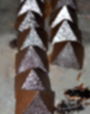 glitter chocolte, silver chocolate, sparkle chocolate, pyramid of paan, handpainted chocolate, glitzy chocolate, indian sweets, indian chocolate, fennel seed chocolate, clove chocolate, paan chocolate