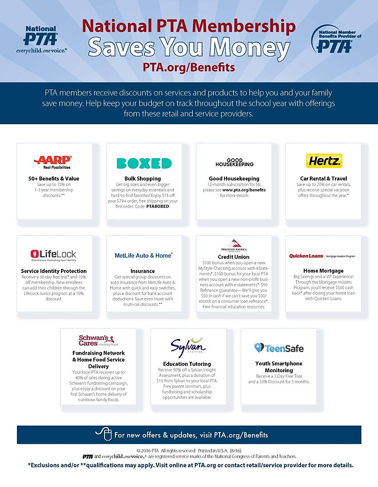 pta s benefits Looking for recruitment tools to share the reasons to belong to pta use our new membership recruitment flyers that detail the benefits of being part of pta whether you're buying school supplies for the kids or renting a car for your next family vacation, pta members can save money on everyday purchases thanks to national pta's member offers.