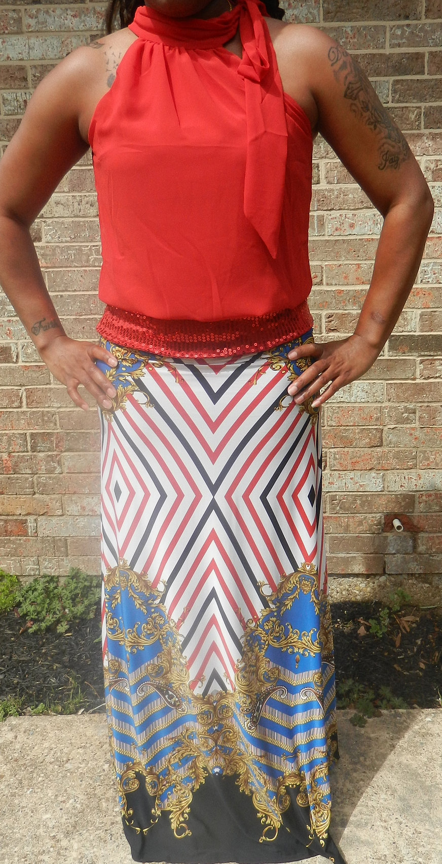 Sequenced Halter w/ Printed Maxi