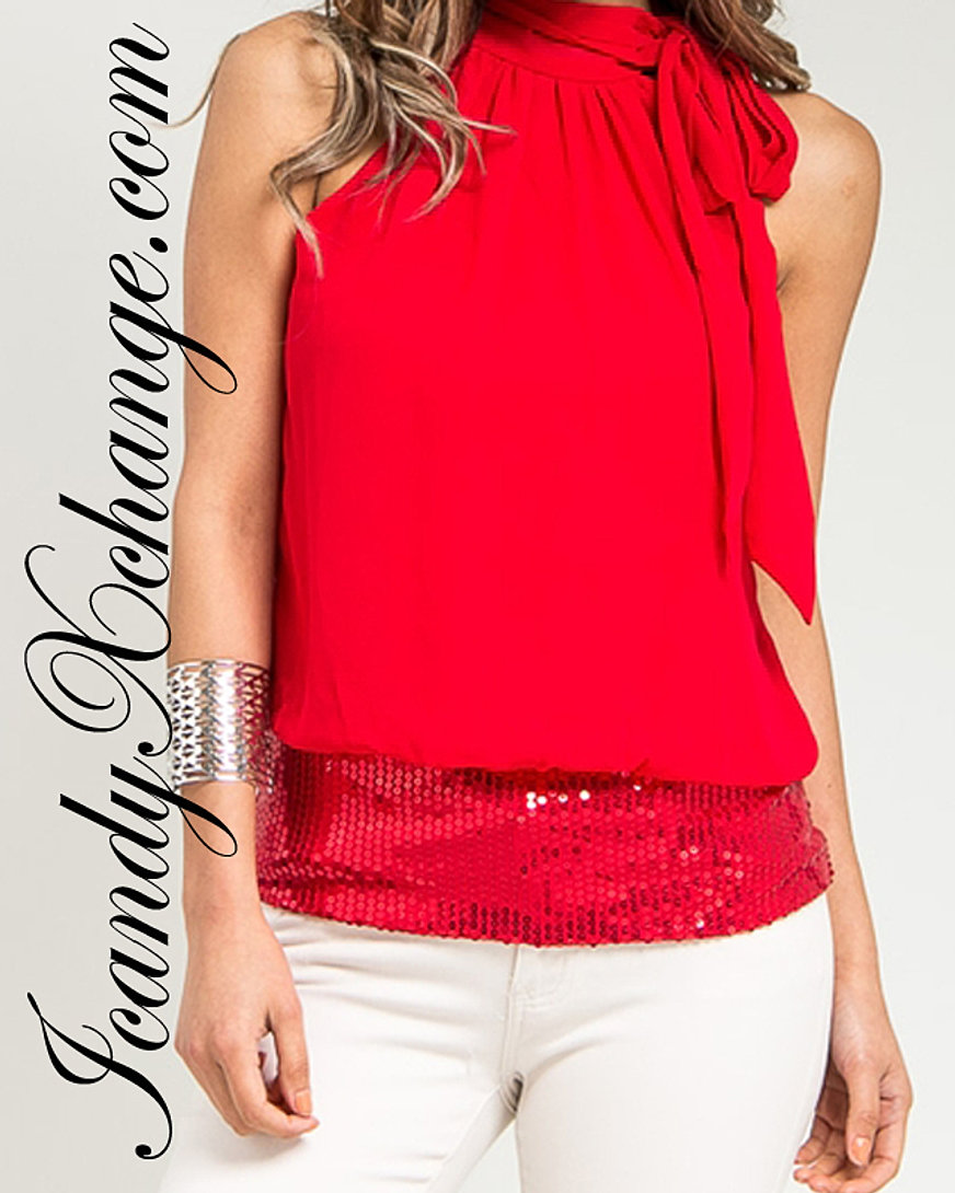 Sequenced Red Halter Top