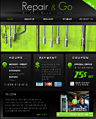 Auto Repair FB Template - Show professionalism on your Facebook profile with this sleek, dark design for your auto repair shop. Make it easy for your customers to find all your key info by displaying it in organized, boxed compartments on the homepage.