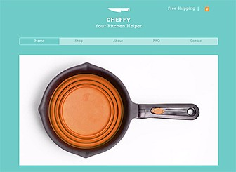 Kitchen Shop Template - This polished, clean eCommerce template is perfect for your kitchen supply business. The slideshow gallery on the home page lets you draw attention to your top selling products while the inner pages give you the space to display your full collections. Add photos, upload text, and get cooking!