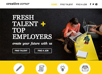 Creative Staffing Agency Template - Grab attention with this bold, bright template. Upload photos, customize pages, and add text to make your firm stand out. Attract top talent and watch your referrals soar!