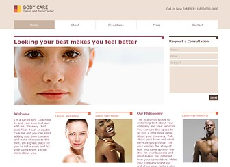 Skin Clinic Template - Rejuvenate your business with this fresh and polished template. Upload videos to showcase your treatments and add images to display your beautiful results. This professional theme is perfect for all clinics, spas, and health centers.