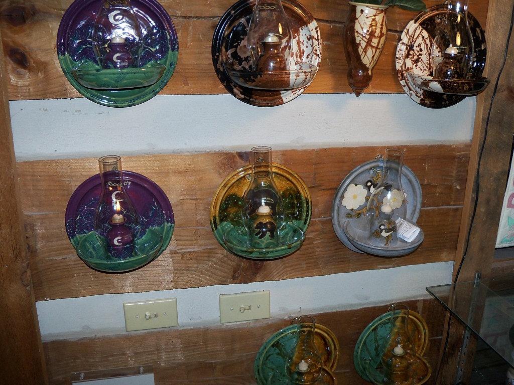 Judy Jones A Gatlinburg Pottery Shop Smoky Mountain Pottery Shops Wall Mounted Hurricane Lamps