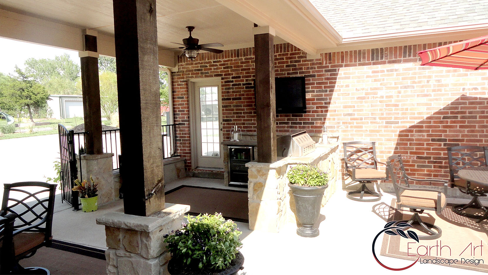 Earth art landscape design rockwall texas stone for Dallas outdoor kitchen designs