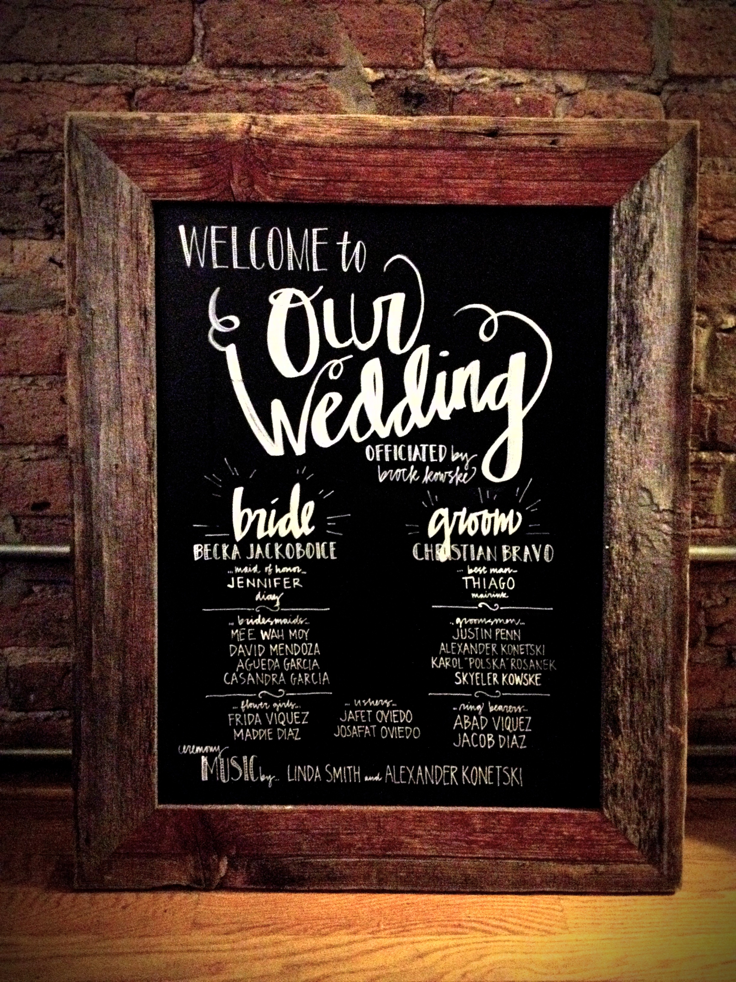 Mas+Millie Chalkboard Welcome Sign