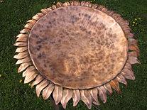 Copper Sunflower Birdbath
