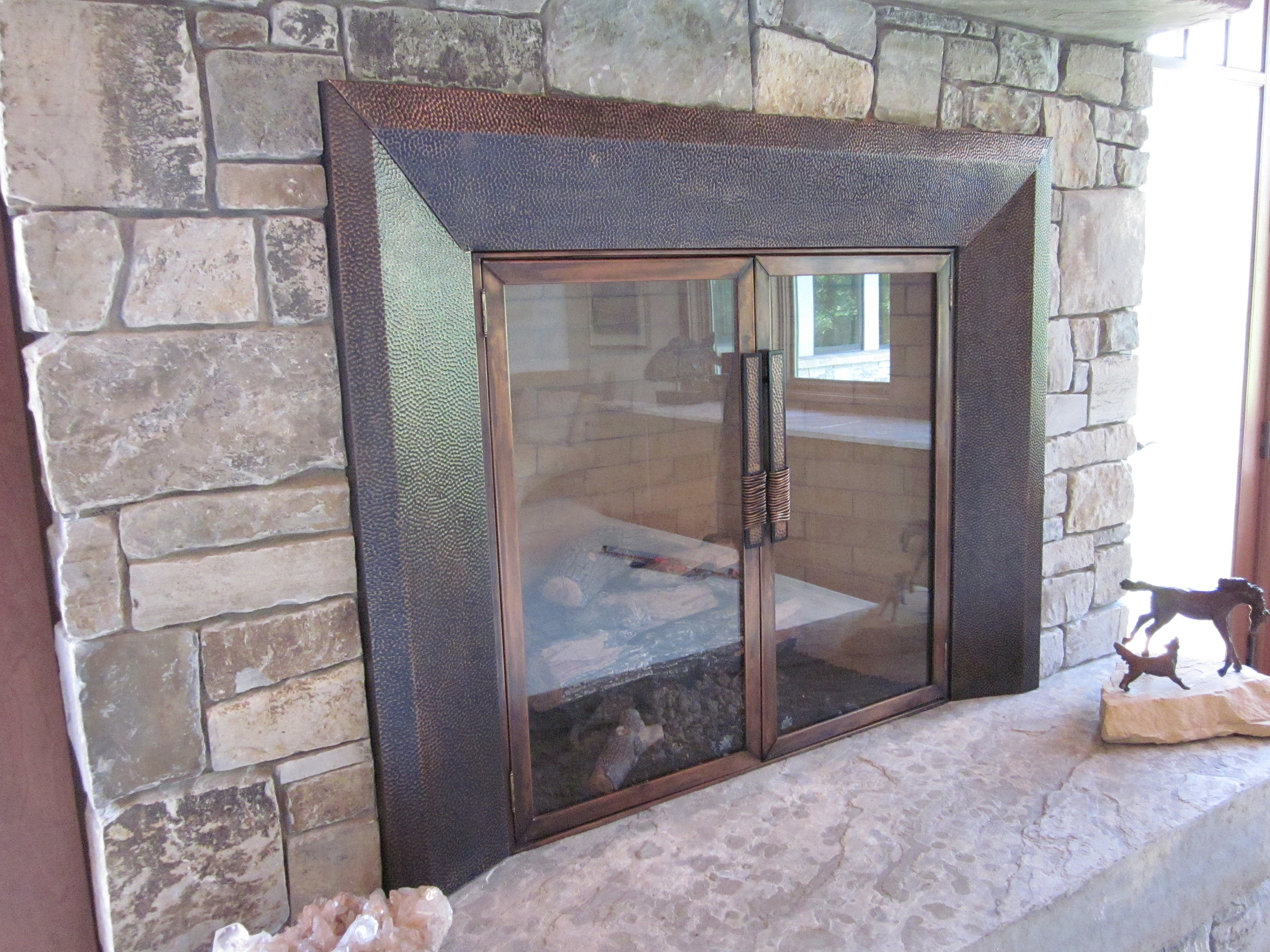Hammered Fireplace Doors : Chicago driveway gates custom metal fabrication