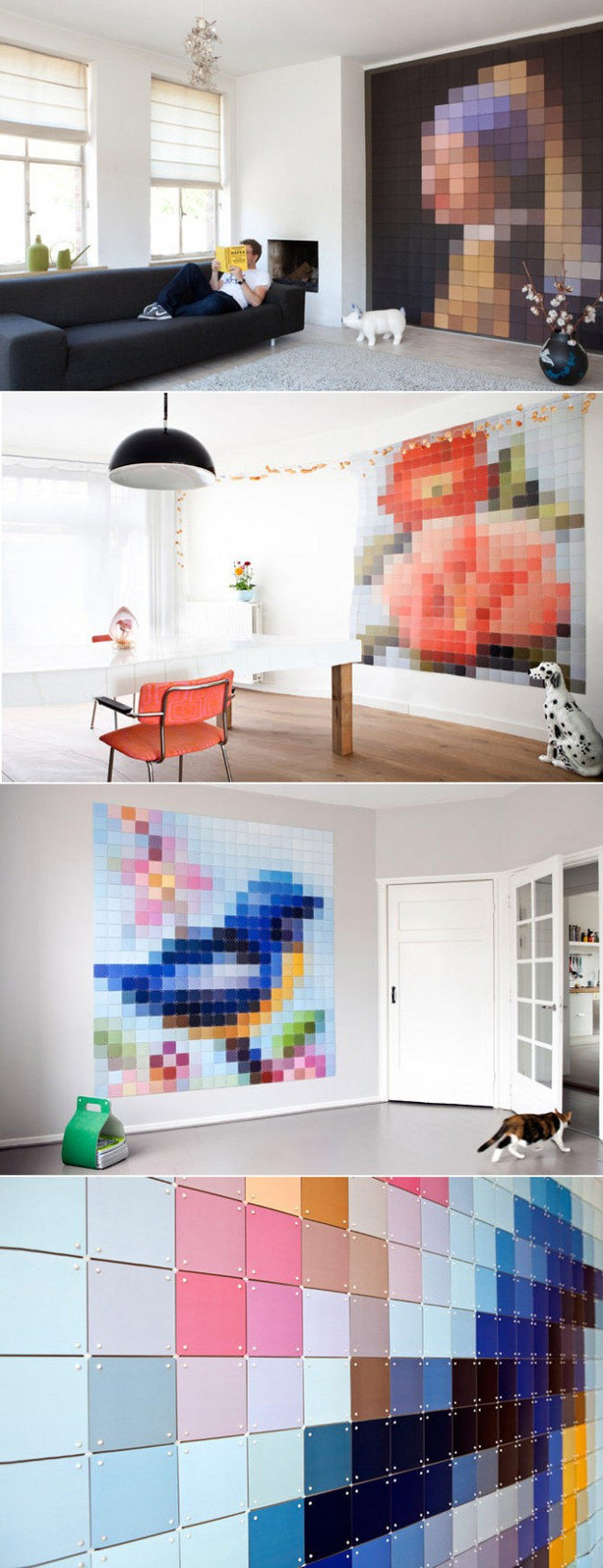 a pixelated portrait from a classic painting is splashed across traditional furniture designs in a modern meets old world mashup by italian design firm - Pixelated Interior Design