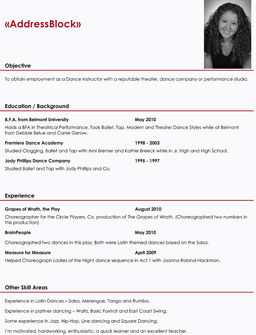 dancer resume - Dance Resume